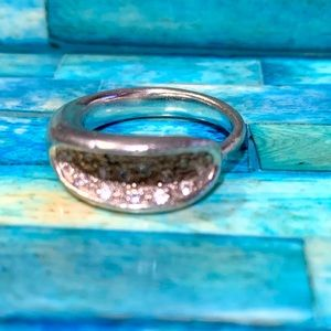 925 Silver Ring with Small Crystal Stones